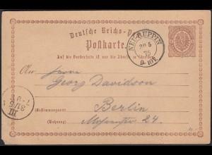 DR Ganzsache 1875 schöne Nachverwendung Neu Ruppin nach Berlin (23019