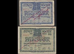 Höchst 5 + 10 Mark Gutschein 1918 Notgeld F (4) entwertet (13819