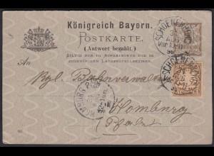Antwortkarte Bayern 1896 Ganzsache m.Zusatzfrankatur Schoenenberg (22974