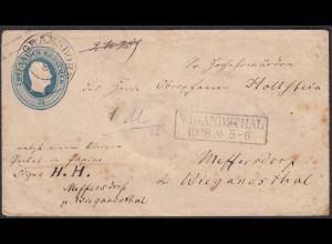 Preussen - 2 Sgr. Ganzsache m.Paketzettel Pilgramsdorf-Mettersdorf b.Wigandsthal
