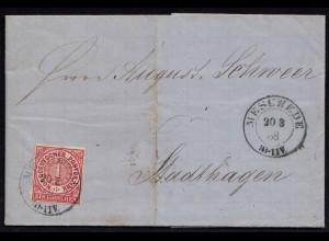 NDP - 1868 Brief 1 Gr. aus Meschede nach Stadthagen mit Inhalt (22988