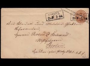 Preussen 3 Sgr.Ganzsache Militär von Cosel Schlesien nach Berlin (22990