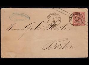 NDP 1868 1 Groschen Ganzsache von HAMBURG I.A. nach Berlin (22993