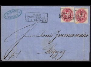Preussen 1864 Umschlag 2 x 1 Sgr. BERLIN POST-EXP.15. nach Leipzig (22994