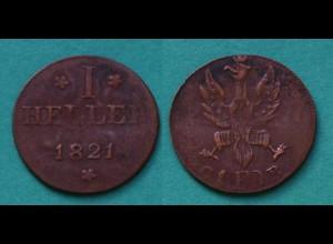 Frankfurt Altdeutsche Staaten 1 Heller Münze 1821 (22919