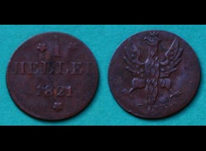 Frankfurt Altdeutsche Staaten 1 Heller Münze 1821 (22918