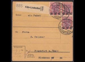 Deutsches Reich 1922 Paketkarte Coeln-Lindenthal Mef. 3x Mi.155 Germania Infla