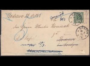 DR 1890 GOSTYN POSEN Brief nach BODZEWO Retour mit Inhalt (23017