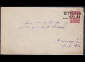 DR 10 Pfennig Ganzsachen Umschlag DITFURTH nach BRANDENBURG (23021
