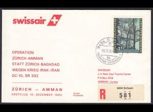 Liechtenstein Erstflug Swissair Zürich - Amman 1980 SR 392 (22937