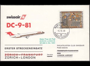 Liechtenstein Erstflug Swissair Zürich - London 1980 SR 806 (22936