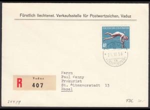 Liechtenstein 1956 R-FDC Mi.344 Hochsprung nach Basel (22928