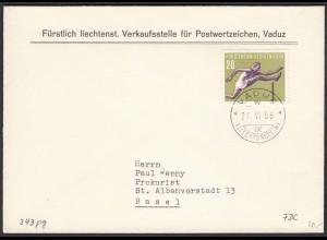 Liechtenstein 1956 FDC Mi.343 Hürdenlauf nach Basel (22927