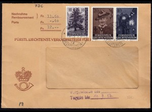 Liechtenstein 1958 NN-Brief Mi.357 + 360-61 Pfaddfinder + Fichte (23029