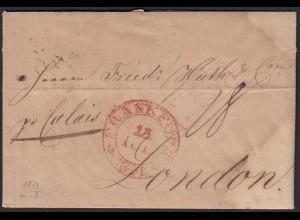 Thurn und Taxis 1824 Brief Frankfurt K2 rot via Calais n.London Inhalt (16002