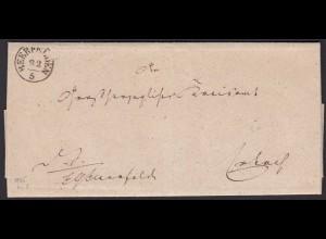 Thurn und Taxis 1855 Brief Beerfelden K1 nach Erbach K1 m. Inhalt (16003