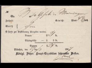 1867 Bayern Königl.Haupt-Expedition fahrender Posten Aufgabe-Schein (23095