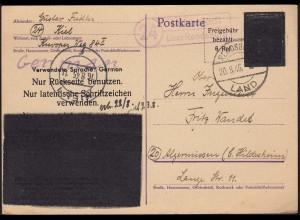 1945 Luhnstedt über Rendsburg Landpost auf geschwärzte Ganzsache SELTEN (23053