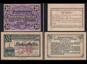 Österreich - Austria 20 + 50 Heller Notgeld Wien 1920 (23174