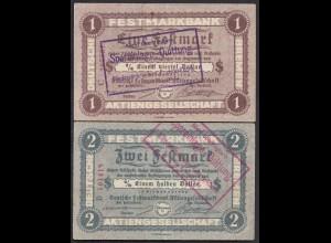 Bremen 1 + 2 Festmark der FESTMARK BANK AG m.Stempel (23200
