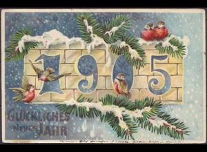 AK Neujahr 1905 Prägedruck von Chemnitz nach Glösa (3676