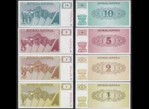 Slowenien - Slovenia 1,2,5,10 Tolari Banknoten 1990 UNC (23218