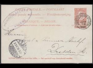 Belgien - Belgium 1896 Ganzsache Postal Stationery Anvers - Dresden (22790