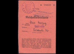 Reichskleiderkarte 3.Reich 1940 Stadt Duisburg (23048