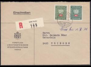 Liechtenstein 1976 Dienst-R-Brief VADUZ - Triesen Mi.D48 + D53 (23236