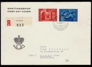 Liechtenstein 1960 R-FDC Mi.396-97 Freimarken nach Stade 90 € CW (23238
