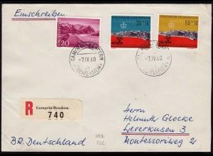 Liechtenstein R-Brief v.Gamprin-Bendern - Leverkusen Mi.389-90, 382 (23241