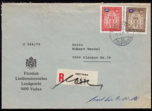 Liechtenstein 1979 R-Dienstbrief innerhalb des Fürstentums (23243