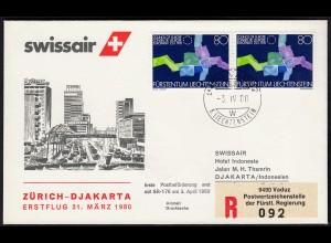 Liechtenstein SWISSAIR 1980 Zürich-DJAKARTA (23274