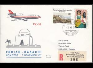 Liechtenstein Swissair Erstflug 1977 Zürich-KARACHI (23278
