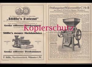 Münster 1913 Firma Stille Patent Prüfung/Beschreibung Walzenmühle C Nr.5