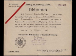 Territorialbezik Provinz Sachsen Fahrt-Bescheinigung Militär-Inspekteur 1918