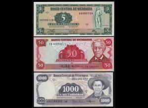 NICARAGUA 5,50,1000 CORDOBAS 1972/85 UNC (23374