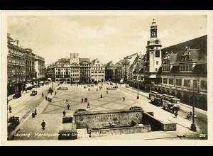 AK 1937 Sachsen Leipzig Marktplatz Strassenbahn Oldtimer (0955