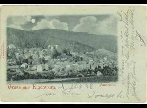 AK 1898 Thüringen Gruss aus Elgersburg Panorama Nachtbild (0942