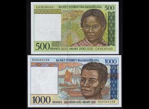MADAGASKAR - 500 +1000 Francs Banknoten UNC ND (23379