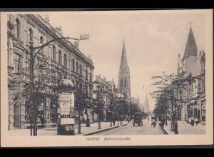 AK Herne Bahnhofstrasse Pferdefuhrwerk Litfass Geschäfte (0925