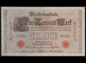 Reichsbanknote 1000 Mark 1910 Ros. 45g aUNC (1-) Pick 44 (23398