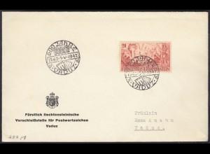 Liechtenstein 1942 Ortsbrief SST 600 Jahre Vaduz (23045