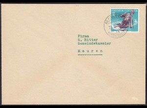 Liechtenstein 1956 Mauren Ortsbrief Mi 334 Ski Slalon (23044