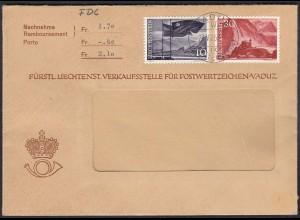 Liechtenstein 1959 NN-Brief FDC nach Zumikon Mi. 381+384 (23041