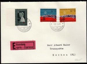 Liechtenstein Express-Brief 1961 Trisen-Eschen Mi. 339,369/70 (23037