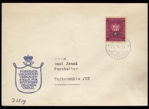 Liechtenstein Dienstbrief 1954 nach Papiermühle Belgien Mi.D35 (23034