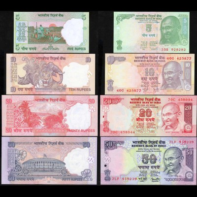 Indien - India 5, 10,20+50 RUPEES Banknote - 2006/09 UNC (1) (14188