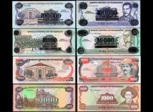 Nikaragua - Nicaragua 4 Stück 1000-100000 Cordobas 1985/89 UNC (1) (14197