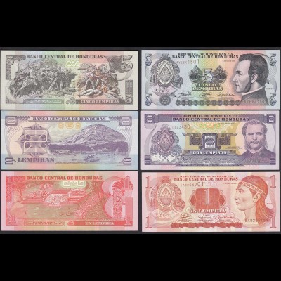 Honduras 1,2,5 Lempira Banknoten 2006 UNC (17883